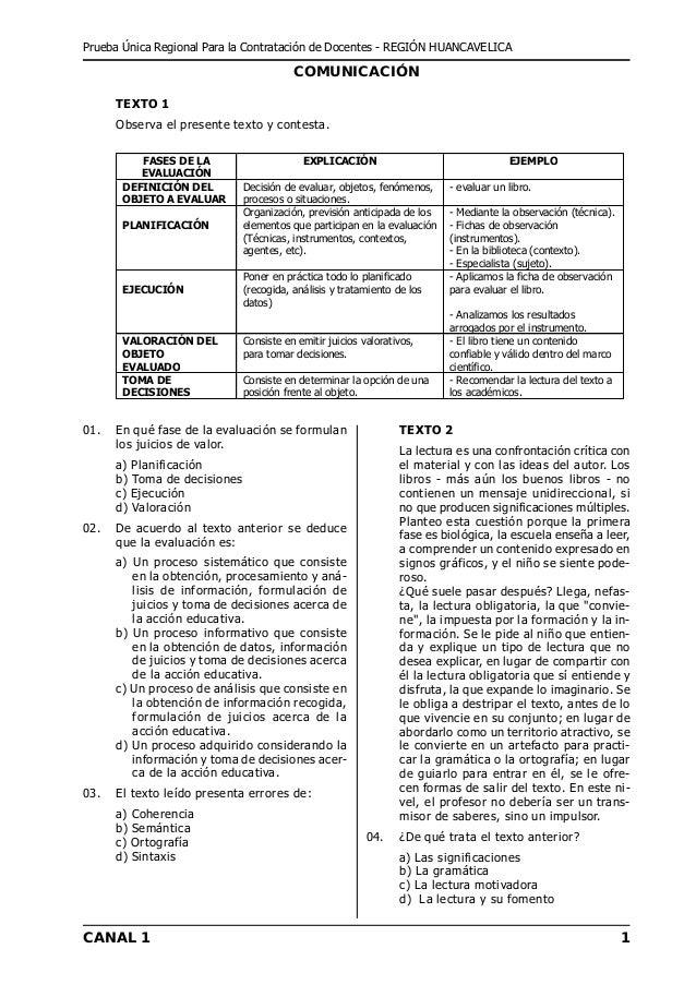 Prueba Única Regional Para la Contratación de Docentes - REGIÓN HUANCAVELICA                                         COMUN...