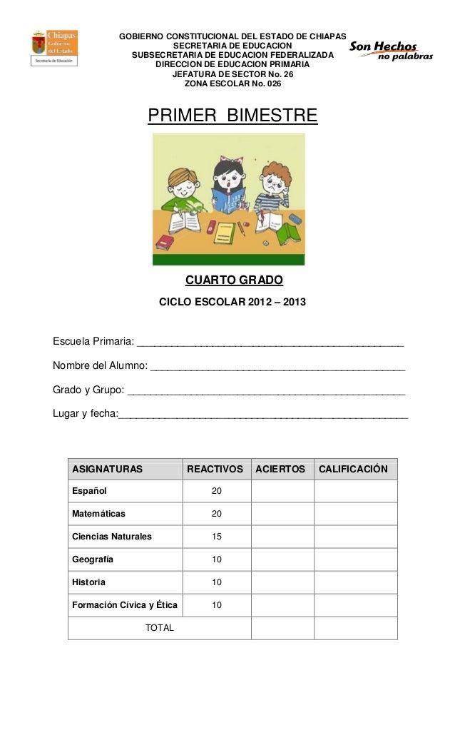 Examen Cuarto Grado Primer Bimestre
