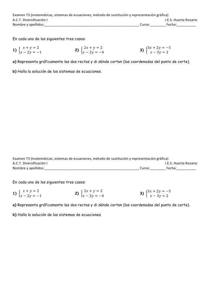 Examen de 3º de diver del tema 3 de matemáticas de sistemas por sustitución y repr.gráfica