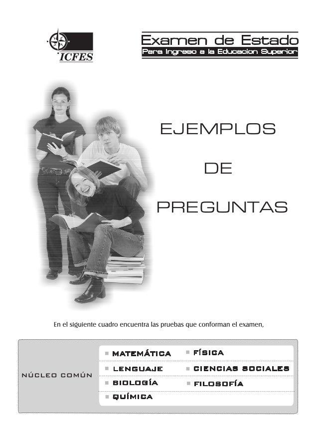 Examen de estado icfes colombia ejemplos de preguntas y respuestas