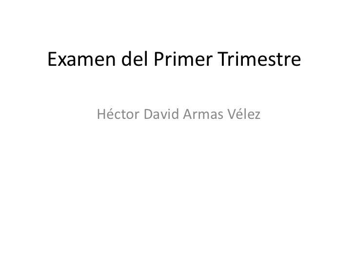 Examen del Primer Trimestre     Héctor David Armas Vélez