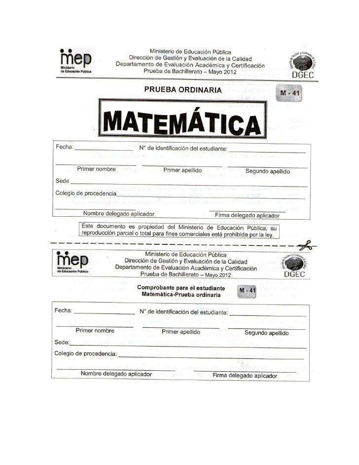 Examen de matemática de bachillerato mayo 2012