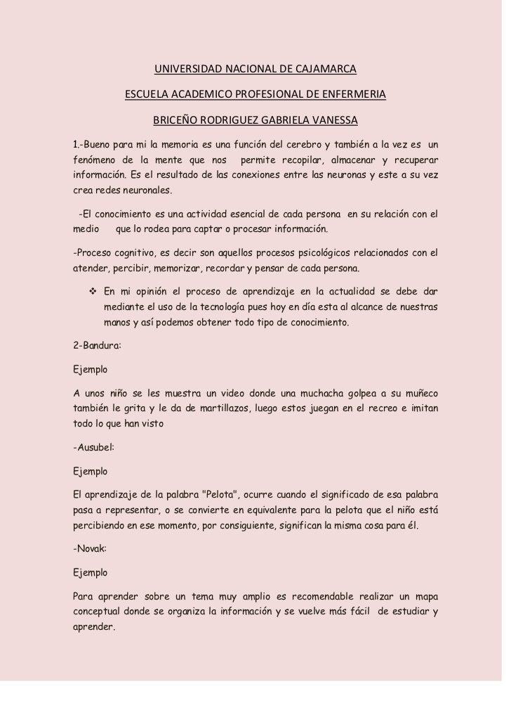 UNIVERSIDAD NACIONAL DE CAJAMARCA<br />ESCUELA ACADEMICO PROFESIONAL DE ENFERMERIA<br />BRICEÑO RODRIGUEZ GABRIELA VANESSA...