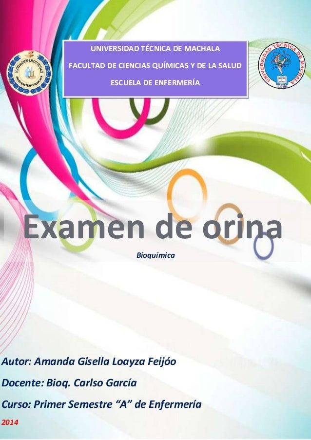 UNIVERSIDAD TÉCNICA DE MACHALA FACULTAD DE CIENCIAS QUÍMICAS Y DE LA SALUD ESCUELA DE ENFERMERÍA  Examen de orina Bioquími...