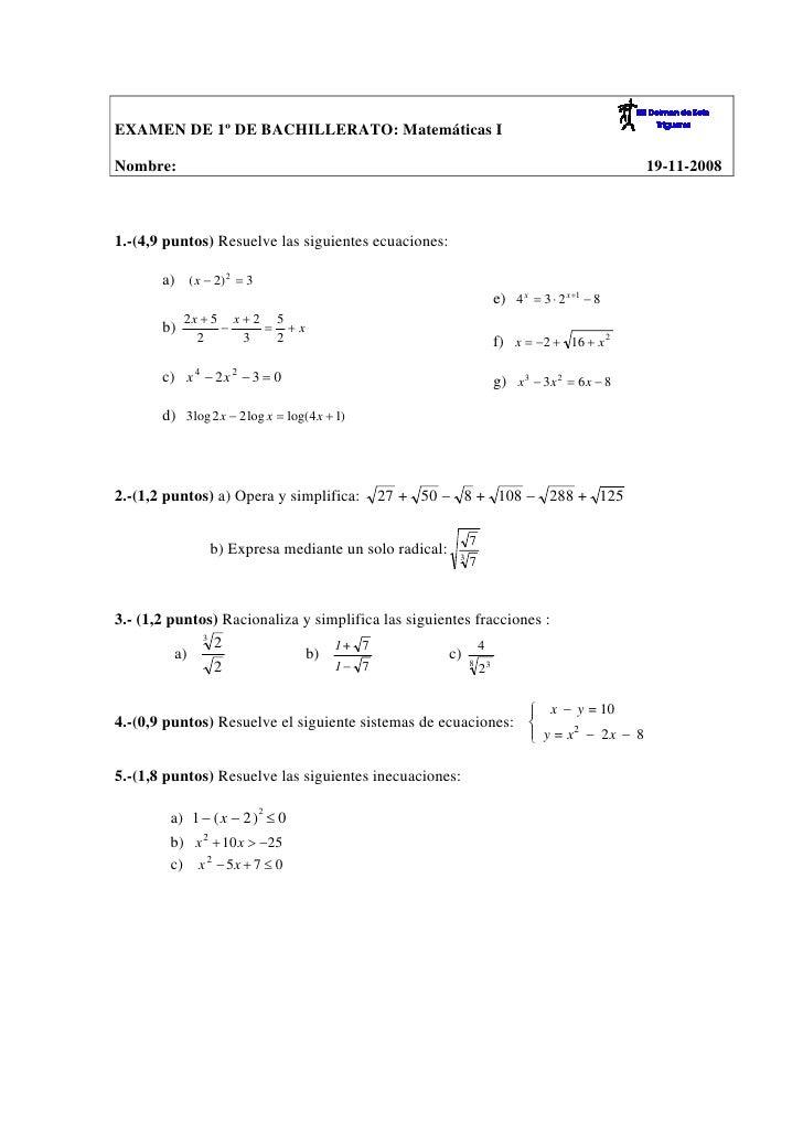 EXAMEN DE 1º DE BACHILLERATO: Matemáticas I  Nombre:                                                                      ...