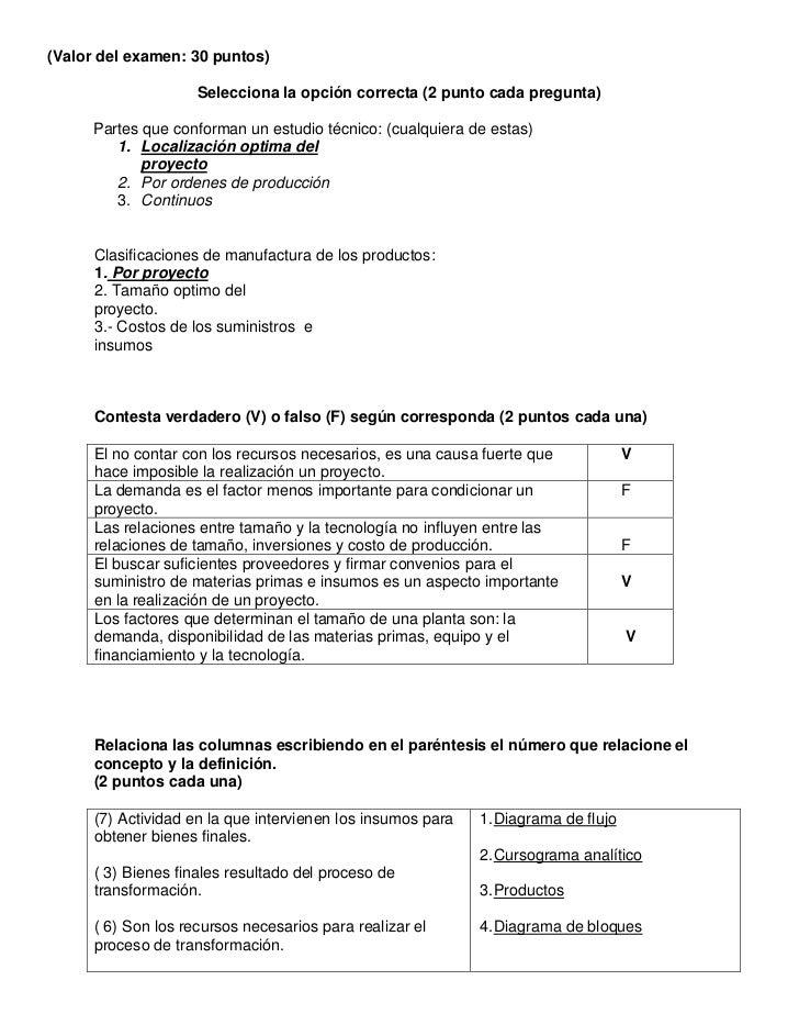 Examen estudio tecnico proyectos for Proyecto tecnico ejemplos