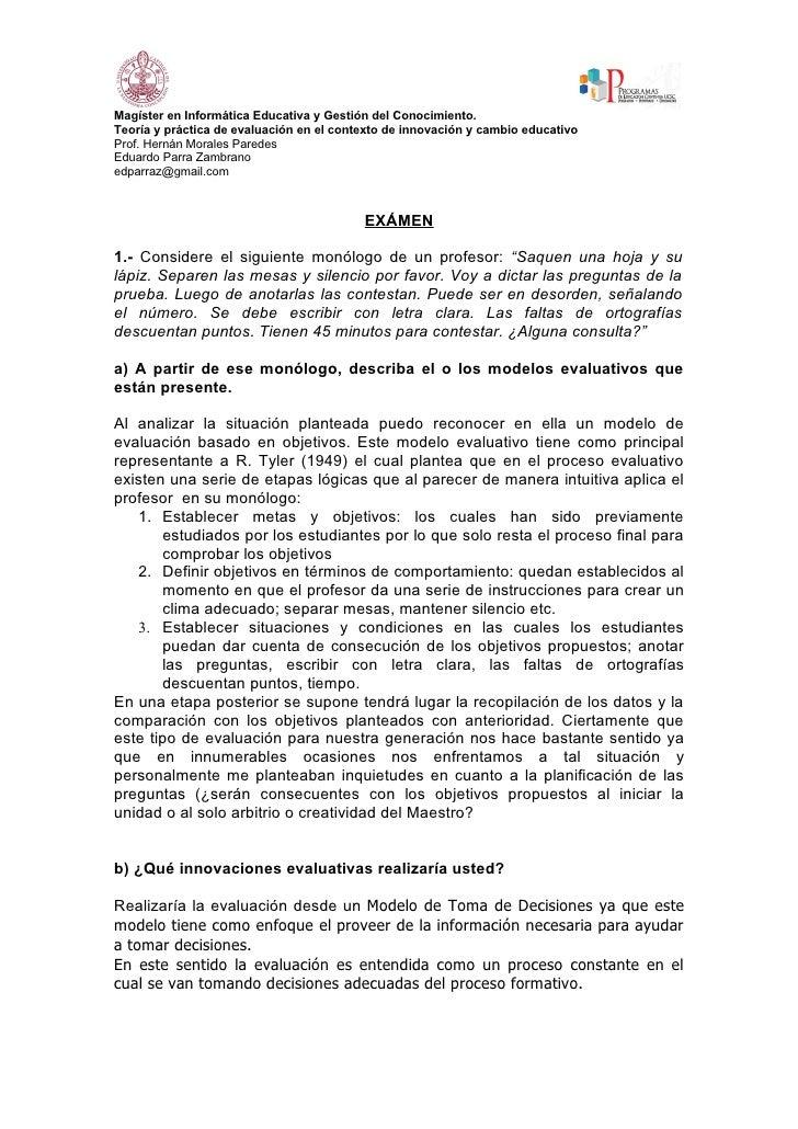 Magíster en Informática Educativa y Gestión del Conocimiento. Teoría y práctica de evaluación en el contexto de innovación...