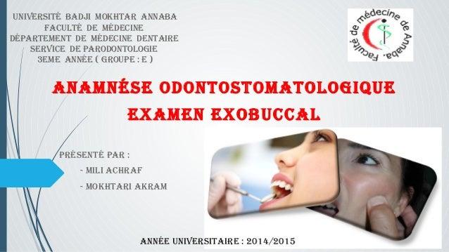 Université badji mokhtar annaba  facUlté de médecine  département de médecine dentaire  service de parodontologie  3eme an...