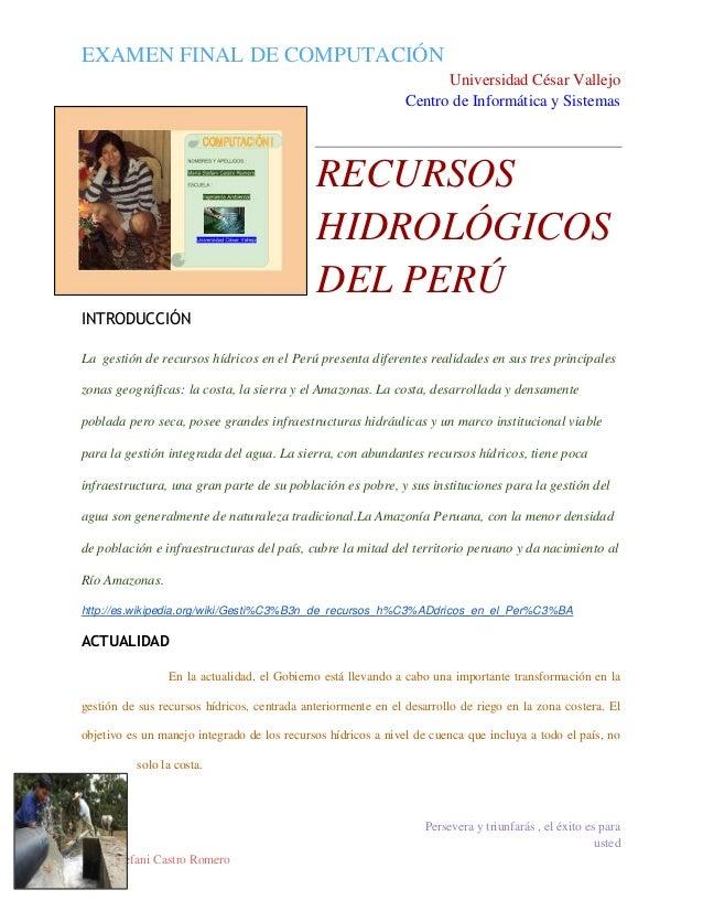 EXAMEN FINAL DE COMPUTACIÓN Universidad César Vallejo Centro de Informática y Sistemas  RECURSOS HIDROLÓGICOS DEL PERÚ INT...