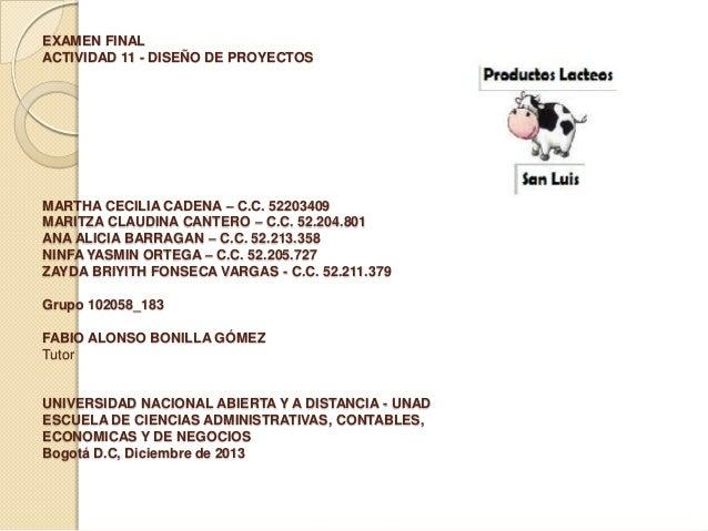 EXAMEN FINAL ACTIVIDAD 11 - DISEÑO DE PROYECTOS  MARTHA CECILIA CADENA – C.C. 52203409 MARITZA CLAUDINA CANTERO – C.C. 52....