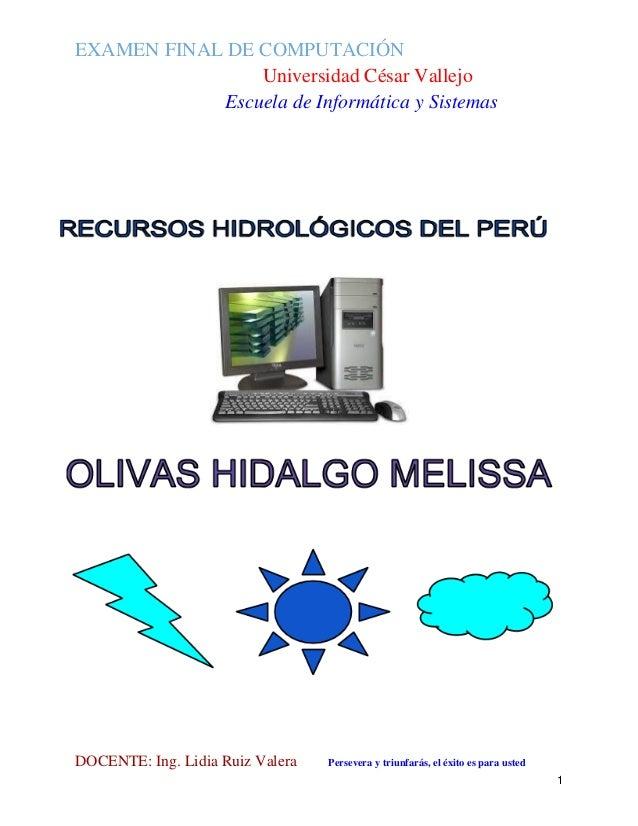 Examen final recursos hidrológicos pdf