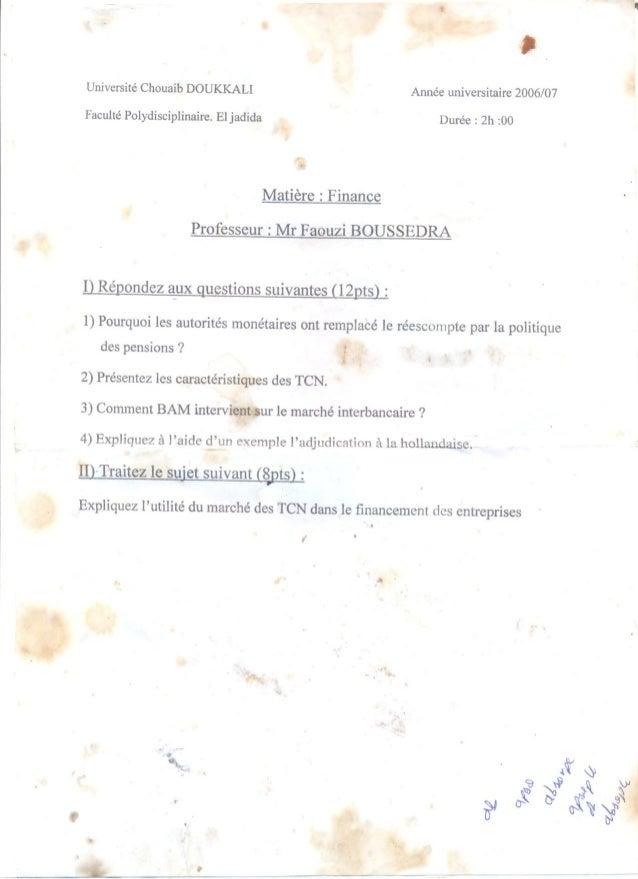 Examen finance