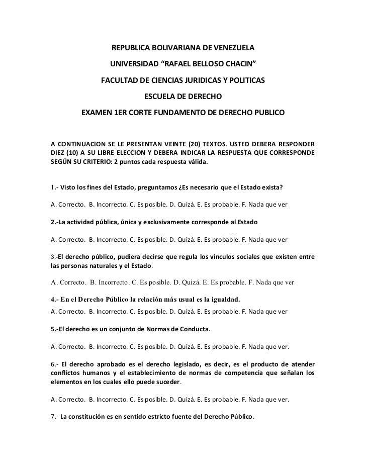 Cuestionario de Derecho Público