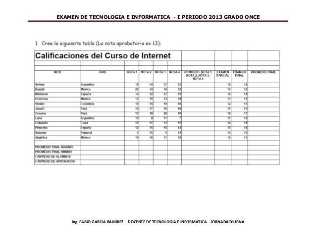 EXAMEN DE TECNOLOGIA E INFORMATICA - I PERIODO 2013 GRADO ONCE    Ing. FABIO GARCIA RAMIREZ – DOCENTE DE TECNOLOGIA E INFO...