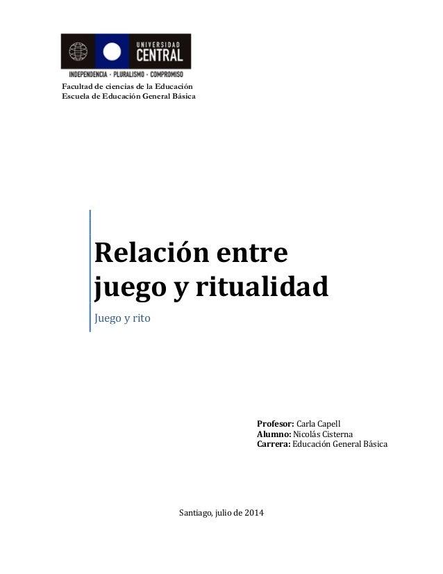 Facultad de ciencias de la Educación  Escuela de Educación General Básica  Relación entre juego y ritualidad  Juego y rito...