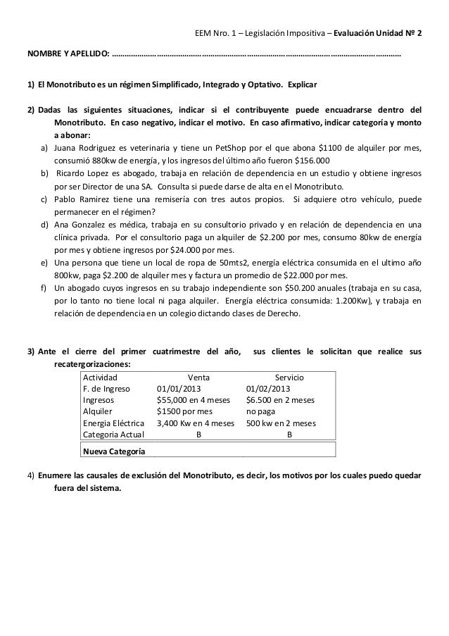 EEM Nro. 1 – Legislación Impositiva – Evaluación Unidad Nº 2 NOMBRE Y APELLIDO: ………………………………………………………………………………………………………………...