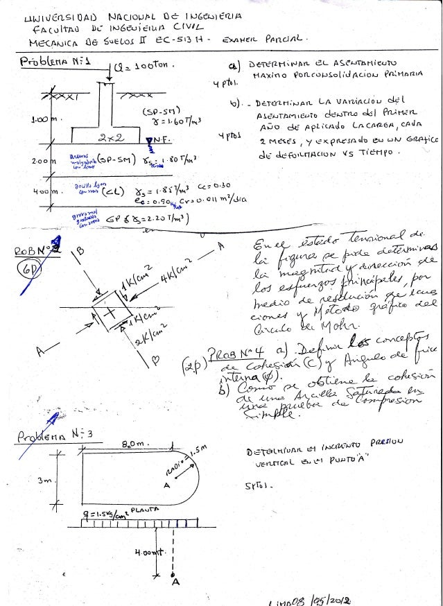 Examen parcial mecanica de suelos 2 UNI-FIC resuelto