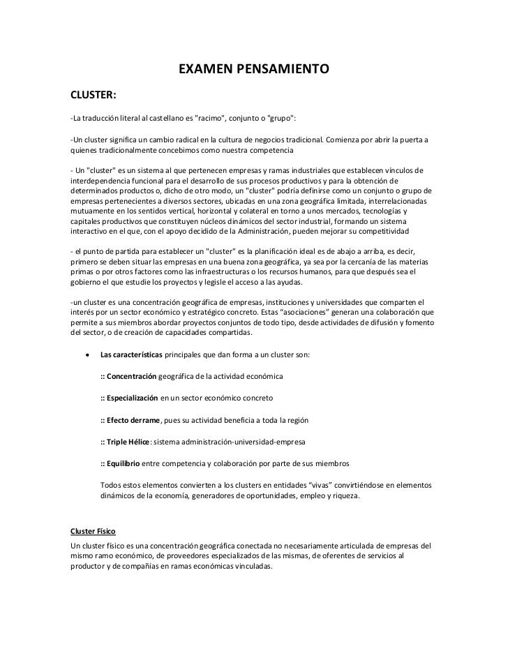 """EXAMEN PENSAMIENTO<br />CLUSTER: <br />-La traducción literal al castellano es """"racimo"""", conjunto o """"grupo"""":<br />-Un clus..."""