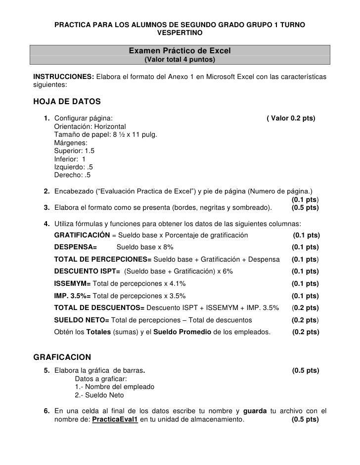 Examen Pr 225 Ctico De Excel 1