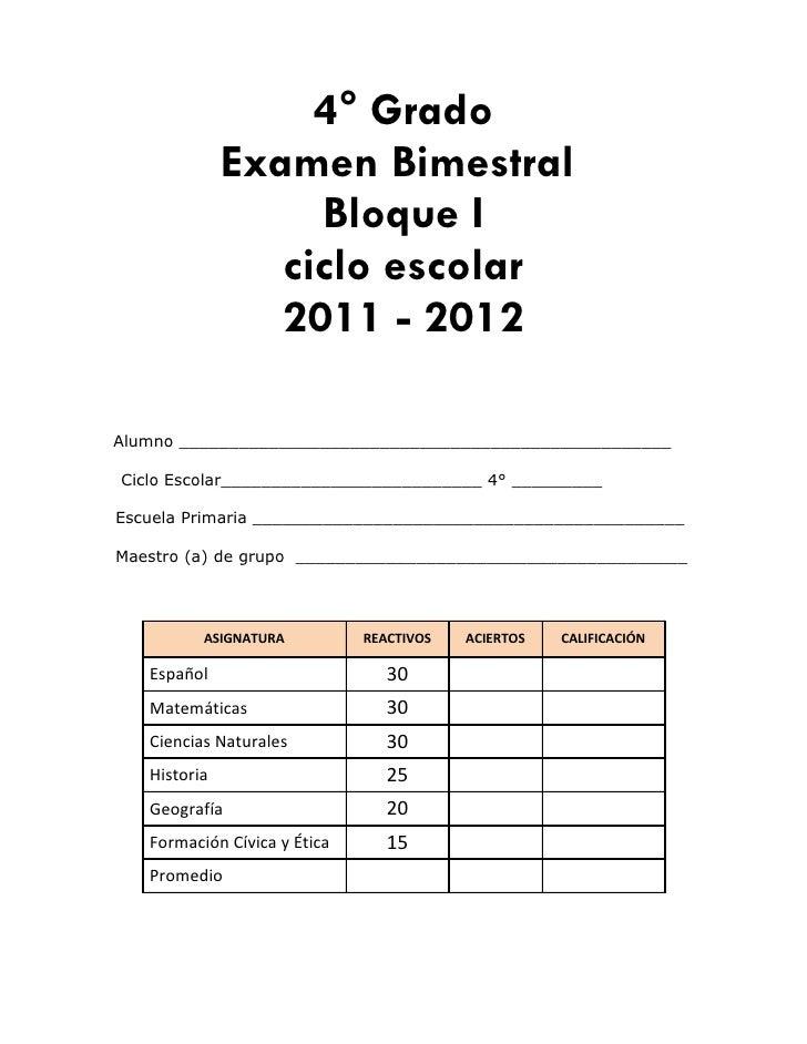 Examen primer bimestre 4º