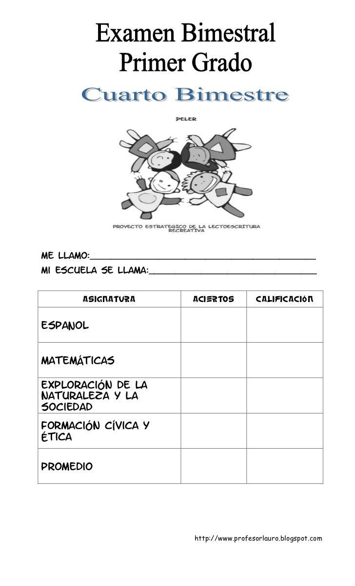 Examen primer grado cuarto bimestre de lauro