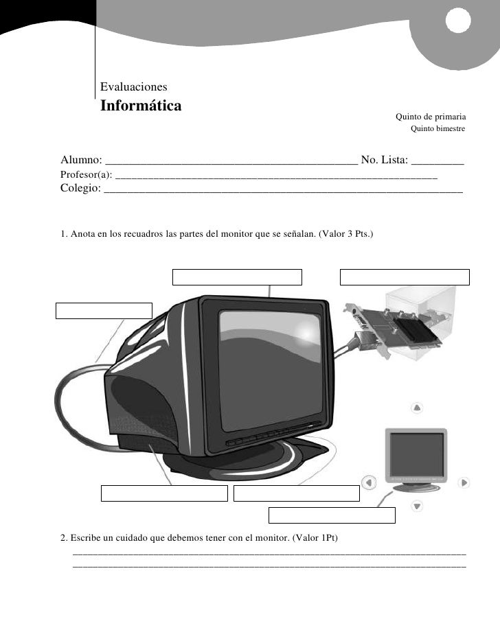 Evaluaciones          Informática                                                                                  Quinto ...