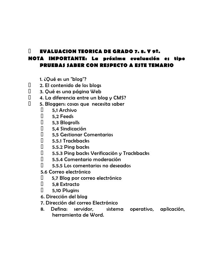 EVALUACION TEORICA DE GRADO 7. 8. Y 9º.<br />NOTA IMPORTANTE: La próxima evaluación es tipo PRUEBAS SABER CON RESPECTO A ...