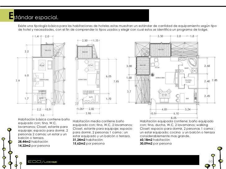 Existe una tipología básica para las habitaciones de hoteles estas muestran un estándar de cantidad de equipamiento según ...
