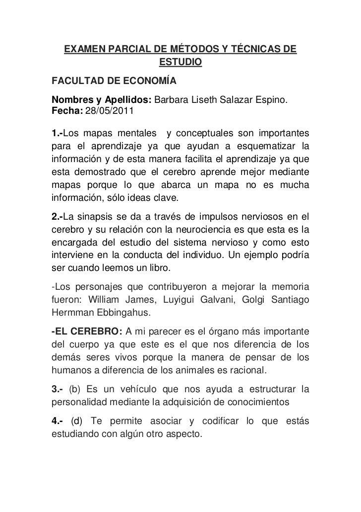 EXAMEN PARCIAL DE MÉTODOS Y TÉCNICAS DE ESTUDIO<br />FACULTAD DE ECONOMÍA<br />Nombres y Apellidos: Barbara Liseth Salazar...