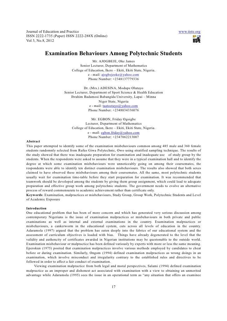 Examination behaviours among polytechnic students