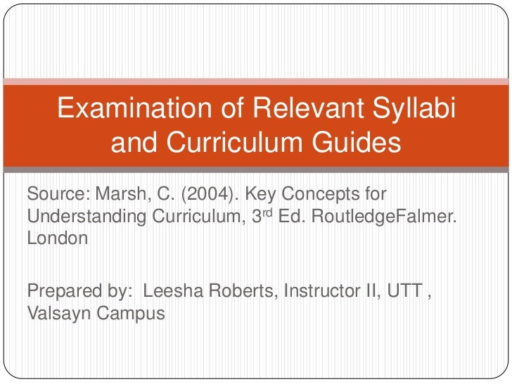 Examination of Relevant Syllabi      and Curriculum GuidesSource: Marsh, C. (2004). Key Concepts forUnderstanding Curricul...