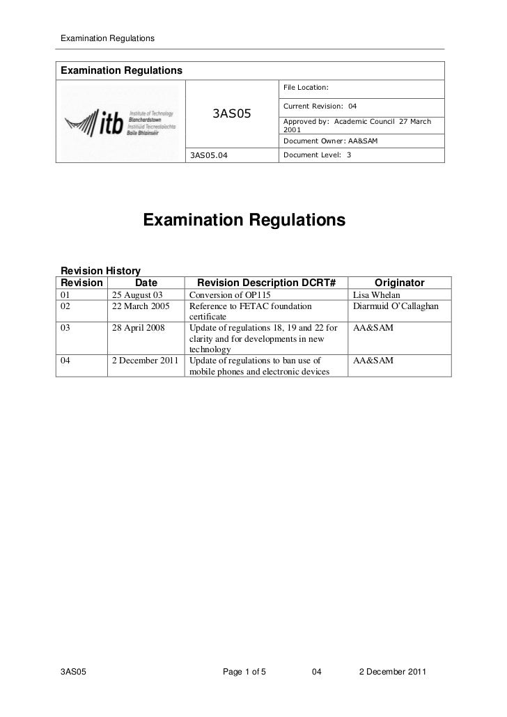 ITB Exam Regulations banning the use of mobile phones and electronic devices.