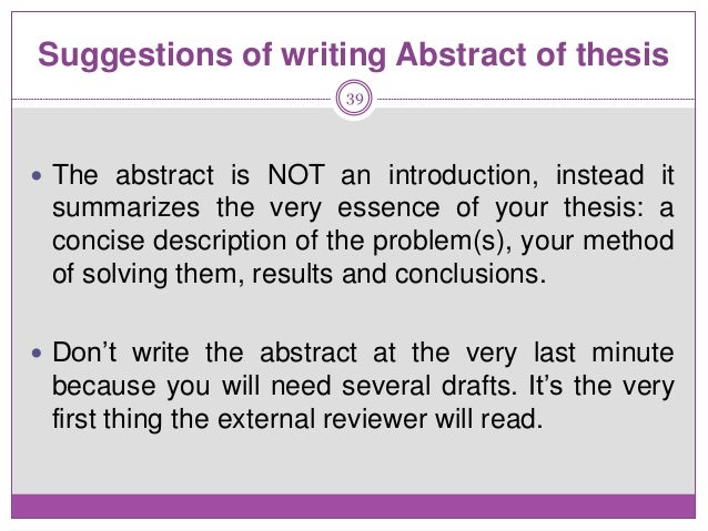 Write Abstract Phd Thesis