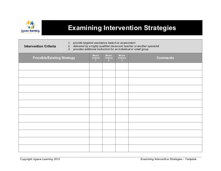 Examining Intervention Strategies - Template