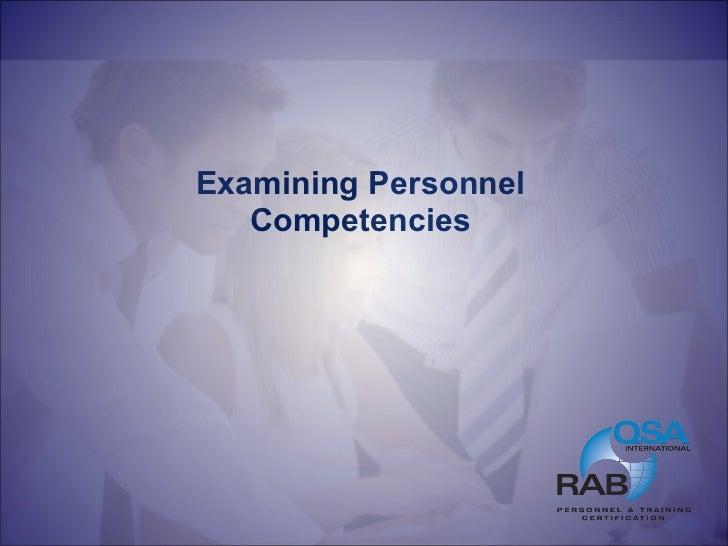 Examining Personnel Competencies