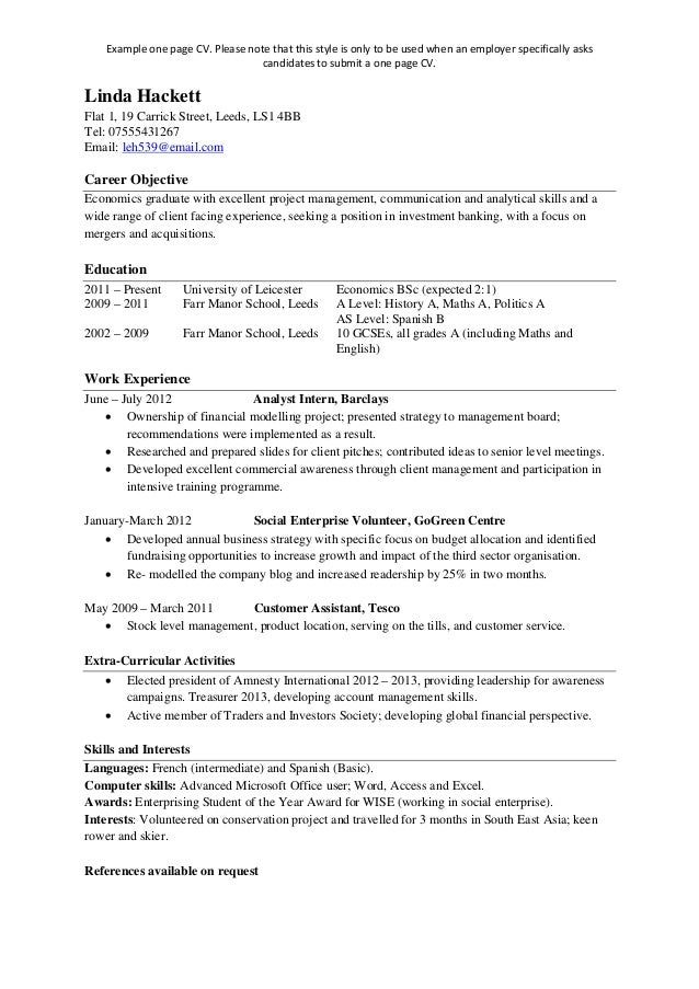 writing one page resume