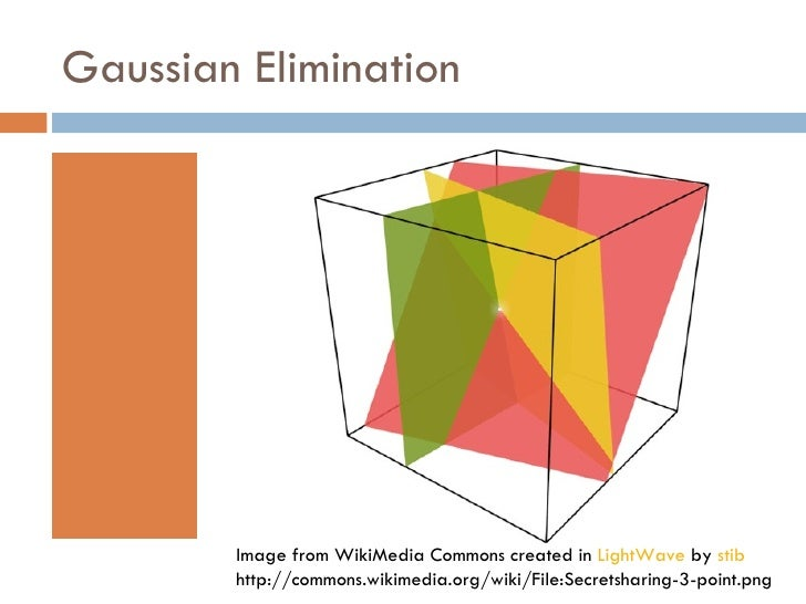 Gaussian Elimination Image from WikiMedia Commons created in  LightWave  by  stib http://commons.wikimedia.org/wiki/File:S...