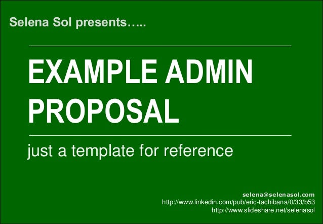 Example administrative proposal