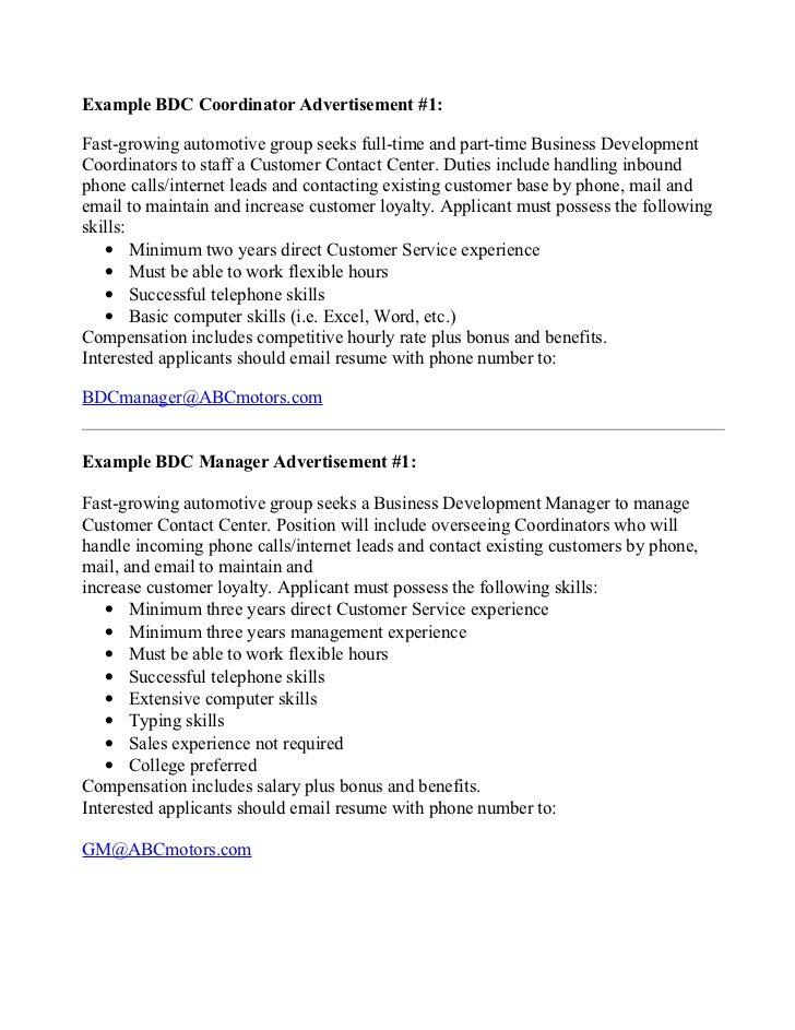 Example bdc staff+mgr help wanted ads