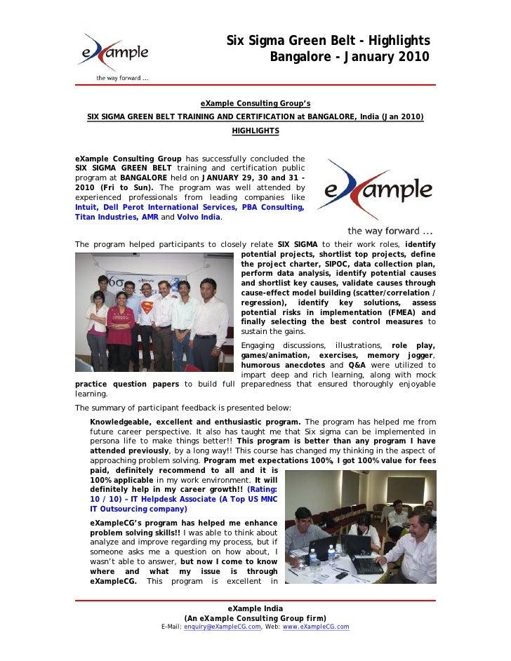 eXampleCG Six Sigma Green Belt At Bangalore   Jan 2010   Highlights