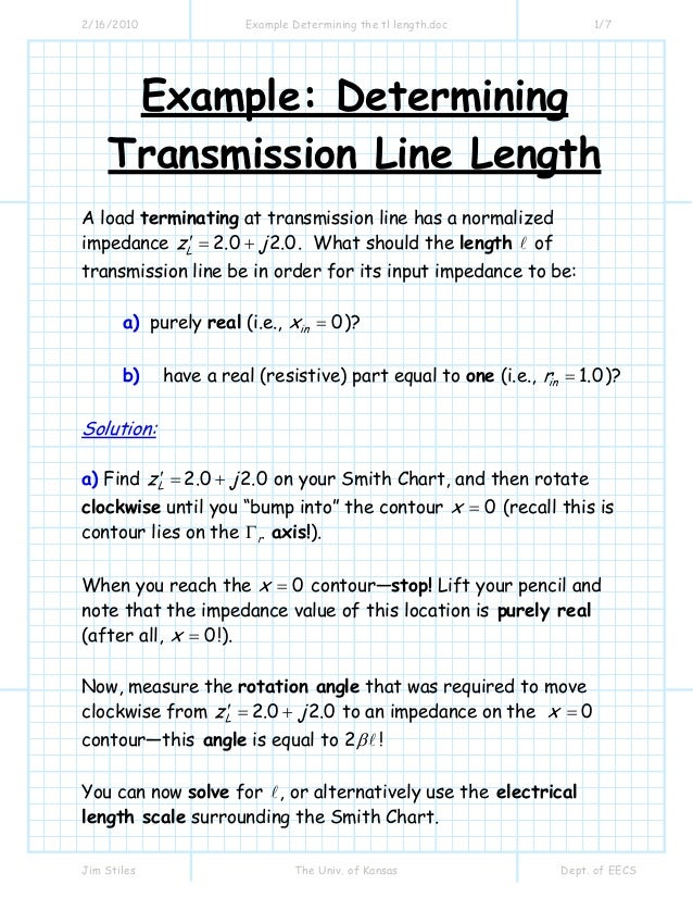 Example determining the tl length