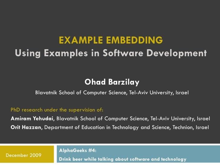 Alphageeks #4: Example Embedding By Ohad Barzilay