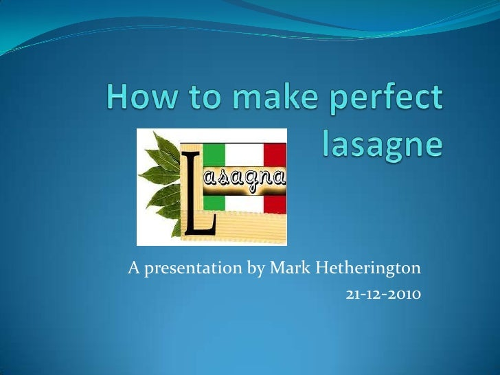 Example of a structured presentation