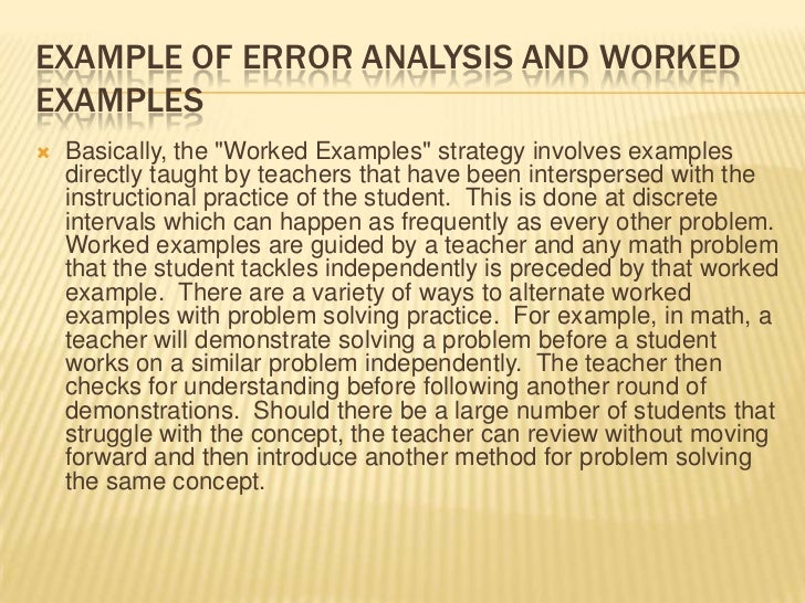 Example of Error Analysis