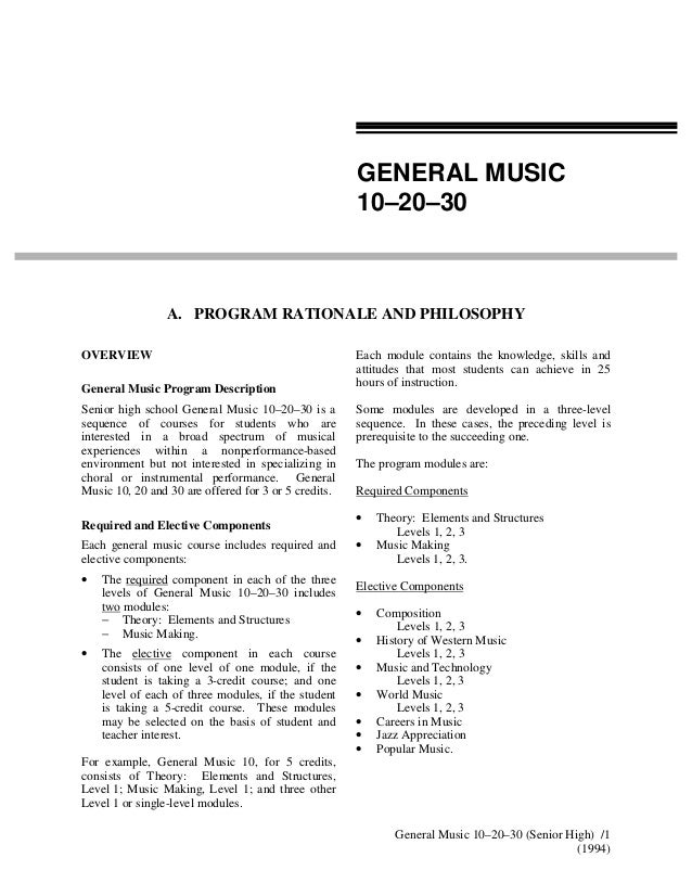 Example of objectives in Music LP