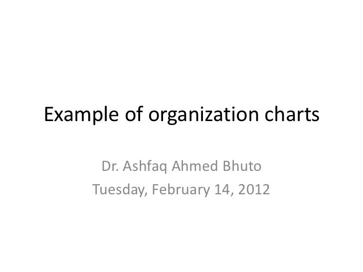 Example of organization charts      Dr. Ashfaq Ahmed Bhuto     Tuesday, February 14, 2012