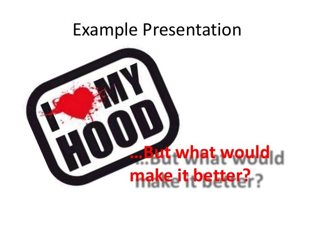 Example Presentation …But what would make it better?