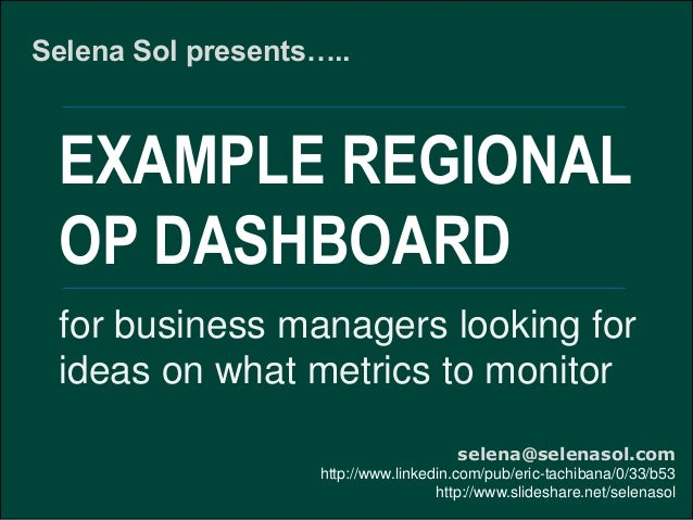 Example regional operating dashboard