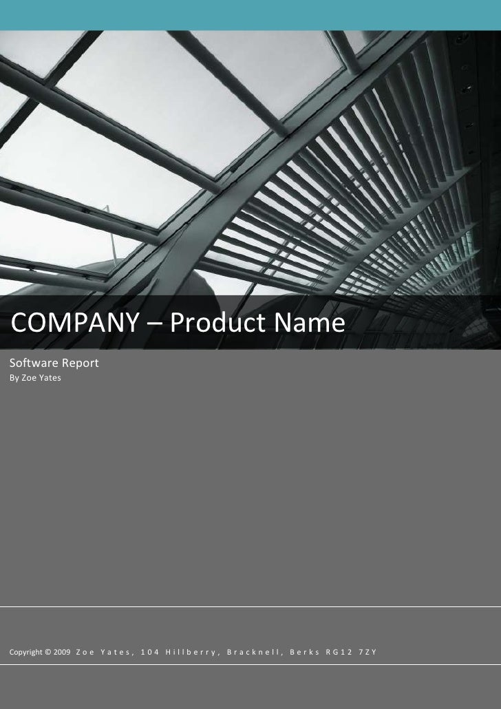 -62865459740COMPANY – Product Name  08FallSoftware Report By Zoe YatesCopyright © 2009   Zoe Yates, 104 Hillberry, Brackne...