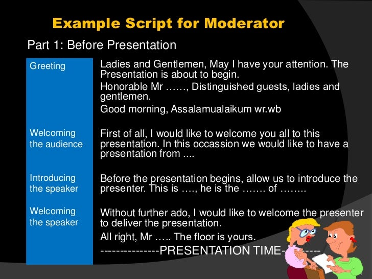 Example script for moderator